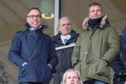 Intern aufgeräumt und sportlich wieder erfolgreich: FCSG-Präsident Matthias Hüppi und Sportchef Alain Sutter (rechts). (Bild: Keystone)