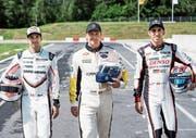 Sie werden in Le Mans aufs Gaspedal drücken: die Schweizer Piloten Neel Jani, Marcel Fässler und Sébastien Buemi (von links). (Bild: Jean-Christophe Bott/Keystone (Lignières, 7. Juni 2017))