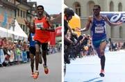 Will den Stadtlauf «endlich» gewinnen: Simon Tesfay (links). Tadesse Abraham knackte jüngst den Schweizer Rekord von Viktor Röthlin. (Bilder Philipp Schmidli / Keystone / Marcel Bieri)