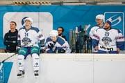Enttäuschung bei Johan Morant, Tobias Geisser, Tobias Fohrler und Torhüter Sandro Aeschlimann (von links). (Bild: Marc Schumacher/Freshfocus (Rapperswil, 21. November 2017))