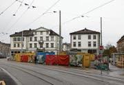 Wo heute noch eine Baustelle ist, soll im kommenden Frühling ein Biergarten der Brauerei Schützengarten entstehen. (Bild: Christoph Renn)