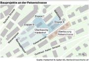 Die Grafik zeigt die Überbauungen Haldenhof (im Bau stehen Etappe I und II, Etappe III ist erst angedacht) und Felsenstrasse. (Bild: Infografik St.Galler Tagblatt)