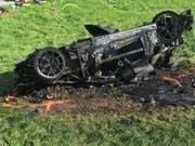 Der zerstörte Wagen, mit dem Richard Hammond verunfallte. Der Vorfall zog ein Verfahren mit Sanktionen des Automobilsportverbands nach sich. (Bild: Freuds (AP))