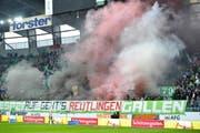 Zwischen den Fans des FC St.Gallen und des SSV Reutlingen besteht eine Fanfreundschaft. (Bild: Archiv/Ralph Ribi)