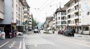 Die Zürcher Strasse im Zentrum des Lachen-Quartiers: Teile des Quartiers wünschen sich hier schon lange eine durchlässigere Strassengestaltung. (Bilder: Sabrina Stübi)