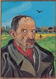 Antonio Ligabue schuf zahlreiche schonungslose Selbstporträts. Im Hintergrund ein Ostschweizer Dorf. (Bild: pd)