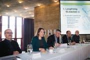 Vor den Medien präsentierte Sonja Lüthi am Mittwoch ihre Argumente für eine Sanierung des Theaters St. Gallen. (Bild: Ralph Ribi)