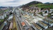 Bauboom im Westen: In Bruggen entstehen derzeit 200 Wohnungen, neun Einfamilienhäuser und vier Villen. (Bild: Urs Bucher)