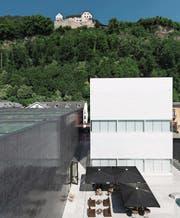 Ein geballtes Mass an Kultur: Oben das fürstliche Schloss oberhalb von Vaduz, unten das Kunstmuseum und in Weiss das neue Ausstellungsgebäude. (Bild: Gian Ehrenzeller/KEY)