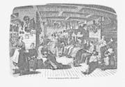 Reisegesellschaft für zwei Monate: Zwischendeck eines typischen Auswandererschiffes, Druckgrafik von 1849.