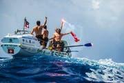 Das Team des Walenstädter Laurenz Elsässer tratt in der Talisker Whisky Challenge gegen 27 andere Mannschaften an. Die Schweizer erreichten den Zielhafen in Antigua (Karibik) als drittes Team. (Bild: Facebook/Swiss Mocean)
