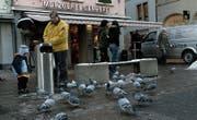 Mitte der Nullerjahre sorgten sich Gewerbler in der Innenstadt wegen einer Taubenplage. (Bild: Ralph Ribi (30. Dezember 2005))