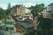Mühleggbahn historisch 1: Die Talstation noch ohne die Gallus-Gedenkstätte daneben auf einer Ansichtskarte um 1908. (Bild: Sammlung Peter Uhler - 1908)