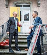 Urs Koller und Reto Häberli vor dem neuen Standort Amriswil. (Bild: Reto Martin)