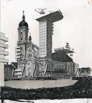 Zeugnis einer heftigen St.Galler Baudebatte: René Gilsis Karikatur «Gallus Oil» aus dem «Nebelspalter», Ausgabe 18.9.1963. (Bild: Staatsarchiv St.Gallen)