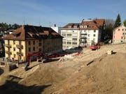 Der obere Teil der Baugrube fürs Projekt Haldenhof. (Bild: Reto Voneschen)