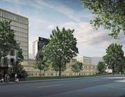 So wird das Kantonsspital St. Gallen in zehn Jahren aussehen. Das neue Bettenhochhaus 07A (am linken Bildrand) wird 2021 bezogen. (Bild: PD)