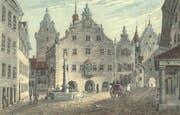 Das alte St.Galler Rathaus unten an der Marktgasse, wo heute das Vadian-Denkmal steht. Links hinten ist der Gefängnisturm zu erkennen. Rechts neben dem Rathaus führt das Ira-Tor ins Gebiet des heutigen Marktplatz/Bohl. Stich von Johann Baptist Isenring, 1831. (Bild: Stadtarchiv der Ortsbürgergemeinde SG)