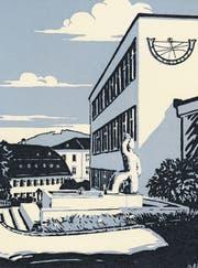 Der Linolschnitt zeigt den Campus der Kantonsschule Mitte der 1960er-Jahre. (Bild: Wikimedia)