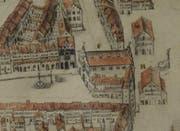 Der Kleine Pergamentplan der Stadt um 1650 zeigt mit F markiert das alte Rathaus und davor im Mauerring das Ira-Tor. H bezeichnet die Metzg.