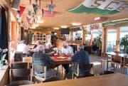 """Soll aufgefrischt werden: Die """"Kronen-Lounge"""" im Paul-Grüninger-Stadion des SC Brühl. (Bild: Ralph Ribi)"""