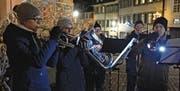 Bläser der Stadtmusik Bischofszell umrahmen den Anlass mit stimmungsvollen Kompositionen. (Bild: Monika Wick)