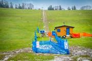 Grüne Wiese statt Pulverschnee: Auch das Rennen am Schlösslihang kann vorerst nicht stattfinden. (Bild: Urs Bucher)