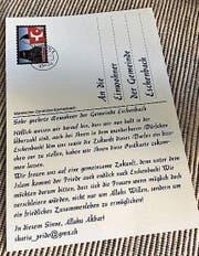 Die Postkarten, die in der Region Zürichsee verteilt wurden. (Bild: PD)