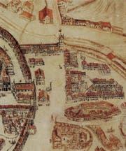Der Bereich von Bohl, Marktplatz und Blumenmarkt (von unten her) ums Jahr 1650. Auf dem Platz ist die Metzg (H), das alte Rathaus (F) und oben das Schibenertor (N) zu erkennen. Links vor der Metzg steht das Ira-Tor. (Bild: Stadtarchiv der Ortsbürgergemeinde St.Gallen)