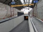 Ab Freitagabend gelangen die Reisenden am Bahnhof St.Gallen von den Perrons wieder in die Rathausunterführung. (Bild: pd)