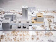Das Modell im Glaskasten zeigt, wie das Spital in Zukunft aussehen wird, in Gelb das neue Kinderspital. (Bild: Urs Bucher)