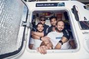 """Laurenz Elsässer Luca Baltensperger, Yves Schultheiss und Marlin Strubund von """"Swiss Mocean"""" legten in 30 Tagen und 6 Stunden 4700 Kilometer zurück. (Bild: Facebook/Swiss Mocean)"""