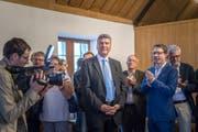 Am meisten Stimmen, aber kein Wahlsieg: Boris Tschirky am Sonntag im Waaghaus St.Gallen. (Bild: Michel Canonica)
