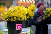 Auch in diesem Jahr verteilt die politische Frauengruppe (PFG) am 8. März auf dem Bärenplatz Mimosen zum Frauentag. (Bild: Michaela Rohrer - 8. März 2016)