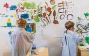 Im neueröffneten Kunstlabor des Kunstmuseums St. Gallen können Kinder einmal pro Monat nach Herzenslust kreativ sein. (Bild: pd/Daniel Ammann)