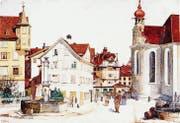 Unablässig ist Emil Nolde zeichnend und malend unterwegs. So malt er 1893 den Gallusplatz in St. Gallen. (Bilder aus: Manfred Reuther/Karin Schick (Hg.): Emil Nolde und die Schweiz)