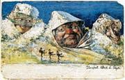 Mit seinen Bergpostkarten – hier mit Jungfrau, Mönch und Eiger – hat Nolde enormen Erfolg.