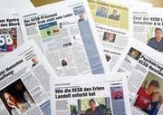 Schlagzeilen der «Obersee Nachrichten» über angebliche Verfehlungen der Kesb Linth. (Bild: SRF)