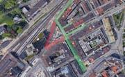 So sieht die Situation heute aus: (Grün erlaubt, Rot = 100.- Fr Busse). (Bild: FM1-Today)