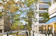 So soll der zusätzliche Uni-Campus der Universität St.Gallen am Platztor aussehen. (Bild: Visualisierung, PD)