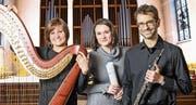 Julia Kreyenbühl-Gschwend an der Harfe, Dagmar Grigarová an der Orgel und Philipp Kreyenbühl an der Oboe geben am kommenden Sonntag ein Konzert. (Bild: PD)