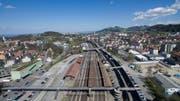 Blick vom Bahnhof St.Fiden in Richtung Osten der Stadt. (Bild: Ralph Ribi)