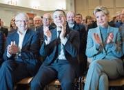 Bundesrat Ignazio Cassis, flankiert von Nationalrat Walter Müller und Ständerätin Karin Keller-Sutter. (Bild: Ralph Ribi (Wattwil, 11. November 2017))