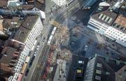 Die St. Galler Stadtregierung hat es bislang nicht geschafft, der Bevölkerung ein mehrheitsfähiges Gestaltungskonzept für den Marktplatz zu präsentieren. (Bild: Michel Canonica, Benjamin Manser (2. Februar 2017))