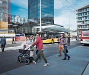 Bahnhof und Bahnhofplatz nahmen 2017 langsam ihre neue Gestalt an. (Bild: Benjamin Manser (12. Oktober 2017))