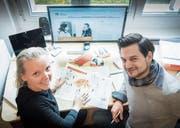 Karin Hufnagl, die Co-Standortverantwortliche von «Rock Your Life» in St. Gallen, und Mentor Nicolas Dietiker. (Bild: Ralph Ribi)