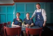 Die drei vom St. Galler Restaurant «Barz» (v. l.): Lenka Schenk, Nicola Spimpolo, Markus Schenk. (Bild: Benjamin Manser)