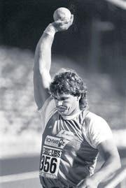 1989 als Kugelstösser beim Leichtathletik-Meeting in Zürich. (Bild: ky)