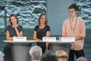 Sonja Lüthi (links) von der GLP erhält Support von der SP. Ingrid Jacober (Grüne) spielte kein Rolle. Andri Bösch (Juso) scheitert knapp. (Bild: Urs Bucher)