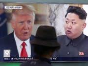 Ein Fernsehbildschirm in der südkoreanischen Hauptstadt Seoul (Aufnahme vom August 2017) zeigt US-Präsident Trump (links) und den nordkoreanischen Diktator Kim Jong Un. (Bild: KEYSTONE/AP/AHN YOUNG-JOON)